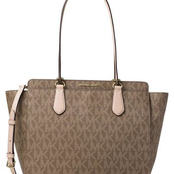 One-nice™ Michael Kors Dee Dee Large Convertible Tote Shoulder Bag in Signature MK. Mocha