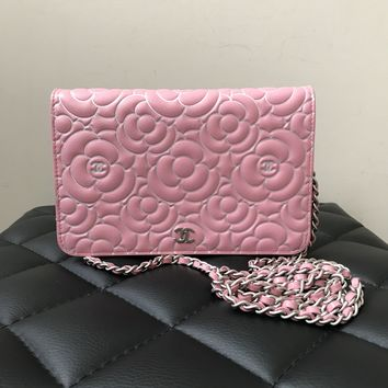 Chanel Pink Camellia WOC (Wallet on Chain)