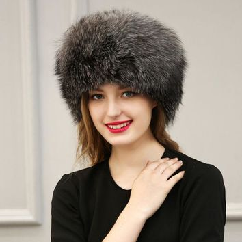 DCCKJG2 Winter Faux Fox Fur PU Leather Hat Cap Women White Warm Soft Solid Color Hat Ear Protection Patchwork  Pompoms Thick Hats