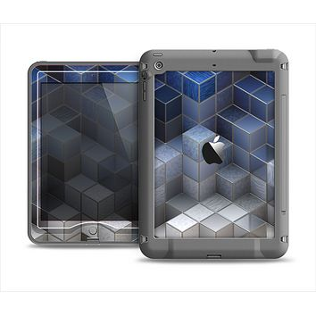 The Blue and Gray 3D Cubes Apple iPad Mini LifeProof Nuud Case Skin Set