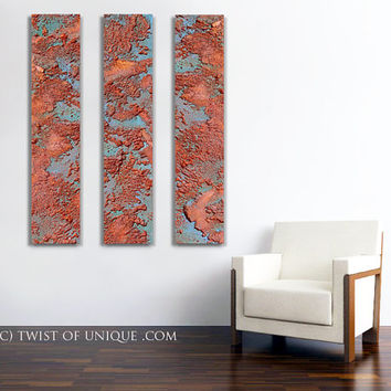 Oxidized  blue steel Abstract Painting, CUSTOM 3 panels (48 Inches x 10 Inches)  Industrial wall art - Rusted metal, blue, red