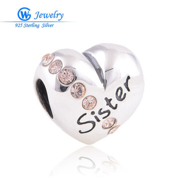 DIY European brand sister charms fits bracelets genuine 925 sterling silver GW fine jewelry X121A
