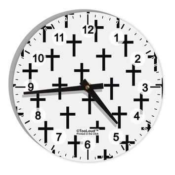 """Christian Crosses 8"""" Round Wall Clock with Numbers All Over Print"""