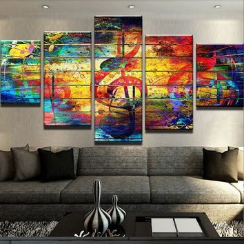 Music Abstract Color Large Framed Canvas