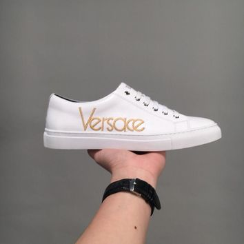 Versace Vintage Logo Leather Sneakers Dsu6796 - Best Online Sale