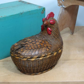 Chicken Basket Wicker and Rattan • Sewing Basket • Egg Basket • Woven Basket with Lid • Hen Rooster Woven Container