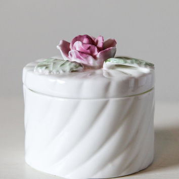 White with Pink Rose Bone China Pia Keepsake Box