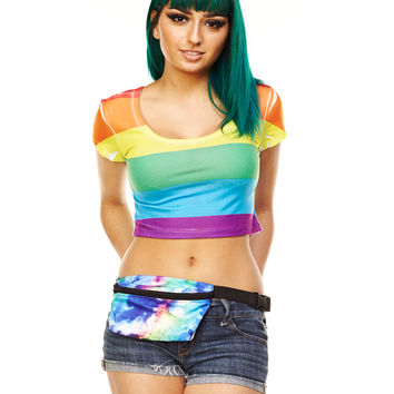 Rainbow Junior Fitted Crop Top