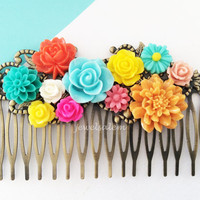 Colorful Wedding Bridal Hair Comb Floral Slide Mustard Yellow Turquoise Blue Mint Aqua Coral Pink Spring Summer Rainbow Bridal Headpiece