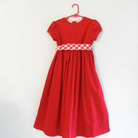 Vintage Girls' Dress Red Corduroy Clothing Long Gown Gently Used Clothes Kids Christmas Photo Props Size 6X Christmas Holiday Dresses Sale