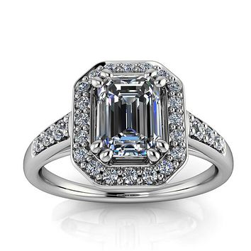 Emerald Cut Moissanite Engagement Ring - Corinna