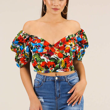 The Vibrant Life Floral Off-Shoulder Top