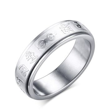 SIZZZ Men/Women's Spinner Ring Stainless Steel Rotate Mantra Ring Chinese Buddhism Charm Jewelry