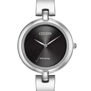 Citizen Eco-Drive Ladies Silhouette Bangle Watch - Black Dial - Stainless Steel