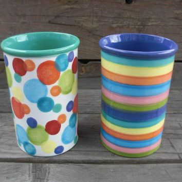 Bright Rainbow Striped Tall Round Ceramic Utensil by InAGlaze