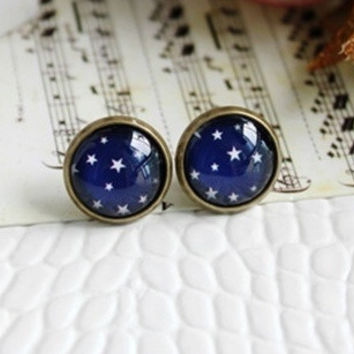Cute Star Gem stone Stud Earrings = 1645688964