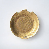 Gold Leaf Dish - Vintage gold colored leaf shaped dish - display dish, ring holder, jewelry holder