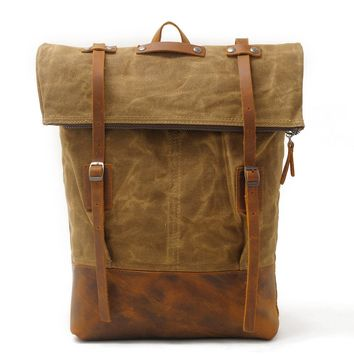 Canvas Shoulder Bag men's leisure backpack batik out door travel bag with head Luxury Cowboy Oil Skin Leather Bags Daypack