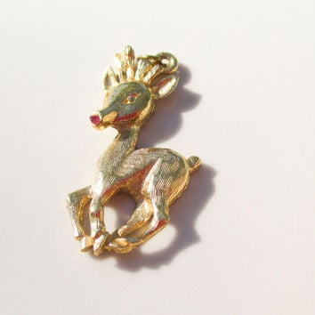 Holiday Sale Christmas Reindeer Rudolph Pendant charm Gold Vintage xmas jewelry