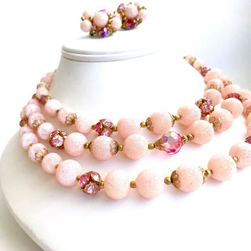 Triple Strand Glass Bead Necklace Earring Set, Shades Of Pink, Rhinestone Balls, Mid Century, Gold Tone Filigree Caps, Vintage 1950s