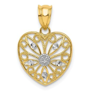 14k Yellow Gold and White Rhodium Filigree Heart Pendant, 14mm