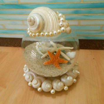 Seashell and Sand Snow Globe - Coastal Snow Globe - Christmas - Snow Globe