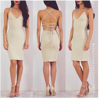2016 Summer Beach Holiday Hollow Bandage Sexy Backless V Neck Erotic Casual Party Playsuit Clubwear Bodycon Boho Dress _ 9167