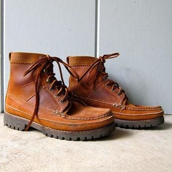 90s Ralph Lauren Country Boots Tall Brown Leather Boots Oiled Leather Lace Up Moccasin