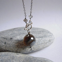 Botswana Agate Necklace, Gray Moonstone Sterling Silver Swirl, Toggle Clasp