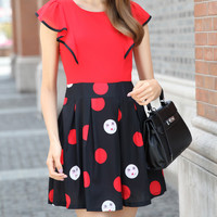 Red and Black Ruffle Polka Dot Skater Dress