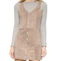 Front Button Suede Dress