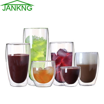 JANKNG 1 Pcs Heat-resistant Double Wall Glass Cup Beer Coffee Cup Set Handmade Creative Beer Mug Tea Mugs Transparent Drinkware