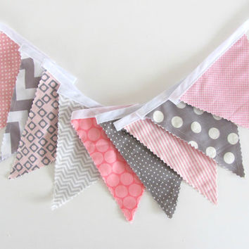 Pink Grey Chevron and Dots Bunting Banner Girl's Nursery Bunting Wedding Garland Photography Prop Baby Girl Decor, Pennants