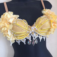 LED Yellow Siren Seashell Bra (LED lights): rave wear, festival, edm, rave bra, edc, electric mermaid, plur, coachella, mermaid, sea star