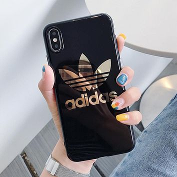 Adidas Fashion Women Men Personality Mobile Phone Cover Case For iphone 6 6s 6plus 6s-plus 7 7plus 8 8plus X XS Max XR Black