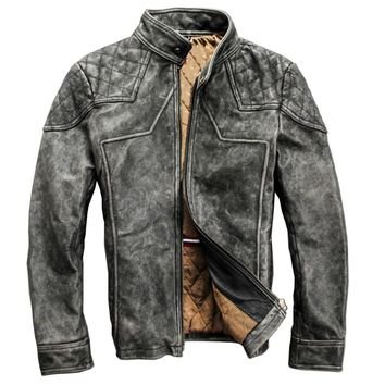 men's vintage Motorcycle rider heavy washing leather jacket mens genuine cow leather outwear slim fitting leather jacket