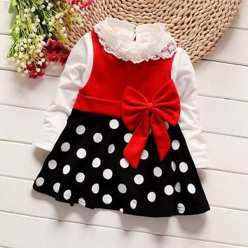 Spring Baby Girls Lace Collar T-shirt + Polka Dot Print Bow Sundress Princess Kids Two Pieces Dresses Vestidos roupas de bebe