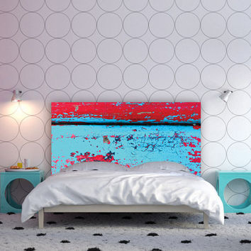 Headboard with Worn Paint design