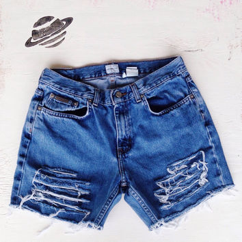 Calvin Klein Denim Shorts Mid Waisted Ripped Jean Shorts Size 8