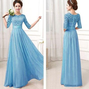 VONEHL5 Blue Crochet Embroidered Half Sleeve A-Line Pleated Maxi Dress
