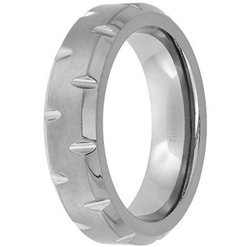 CERTIFIED 6mm Titanium Wedding Band Notched Ring Beveled Edges Brushed Finish Flat
