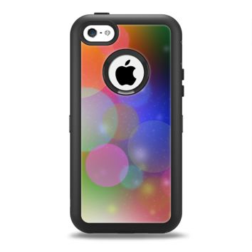 The Unfocused Color Rainbow Bubbles Apple iPhone 5c Otterbox Defender Case Skin Set