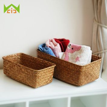 WCIC Handmade Wicker Baskets Rattan Cosmetic Box Decorative Case Woven Flower Pot Straw Storage Basket Plant Pot Kitchen Basket