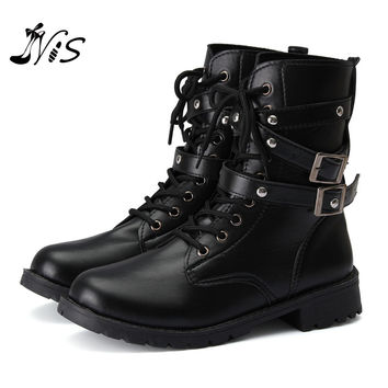New Arrival Women Men Autumn Winter Biker Leather Motorcycle Boots Ladies Vintage Rivet Combat Army Punk Goth Ankle Shoes Alternative Measures
