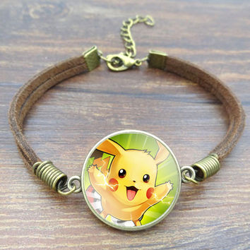 Cute Pokemon Bracelet Pikachu Retro Brown Rope Charm Bracelet for Adjustable Men Women