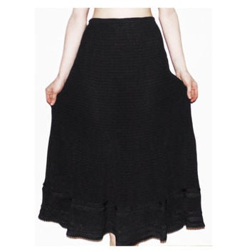 Deep black beautiful maxi skirt high waisted 80s rustic long skirt women vintage rustic skirt black cool skirt