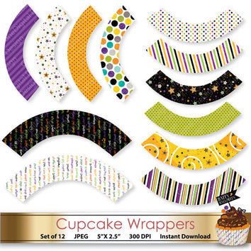 Halloween Cupcake Wrappers: 12 Designs Purple Orange Green Halloween Party Printable Wrappers