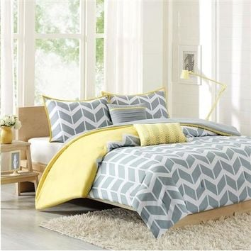 """Vivian"" Chevron Stripe Comforter Set in Gray White Yellow"