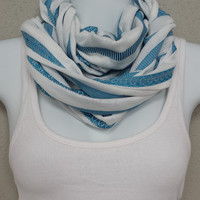 Striped Infinity Scarf White and Blue Infinity Scarves Eternity Loop Lace Scarf Fashion Scarf Winter Scarf Cowl Detail Scarf