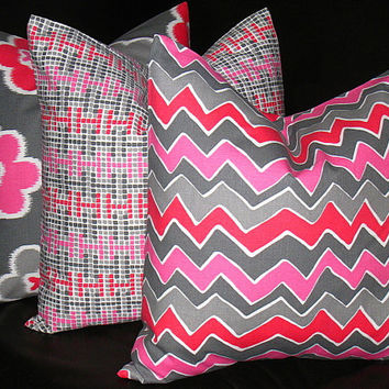 "Pillows Decorative Pillows gray, hot pink, berry TRIO chevron, bloom, tetris 16 x 16 inch Throw Pillow Covers 16"" MODERN geometric  Zig Zag"